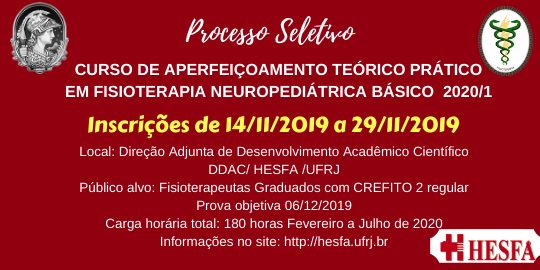 Curso de Extensão - Aperfeiçoamento Teórico-Prático em Fisioterapia Neuropediátrica Básica 2020/1
