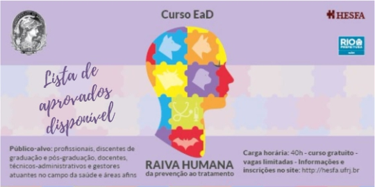 Curso de Extensão/Atualização - Raiva humana: da prevenção ao tratamento Turma 02