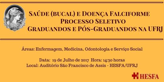 Projeto Estudo e Pesquisa sobre Doenças Hematológicas - Processo Seletivo 2017